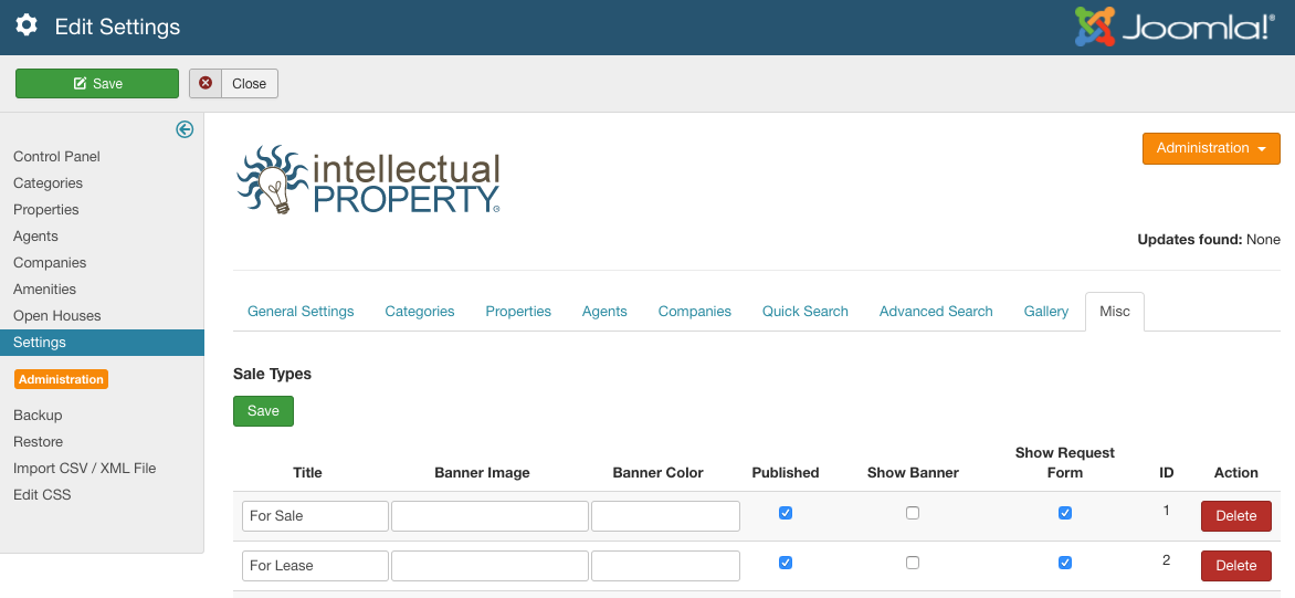 Figure A: IProperty Miscellaneous Settings