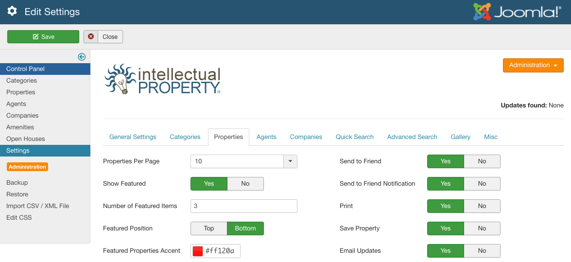 Figure A: IProperty Property Settings